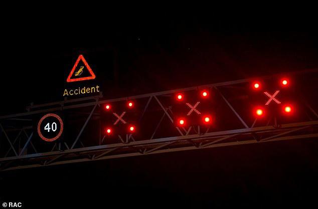 A SMART Motorway Overhead Gantry Signalling Closed Lanes
